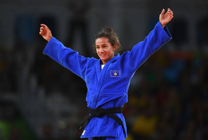 """The 25-year-old made history by becoming the first athlete from Kosovo to win an Olympic medal, competing in the final of the women's 52kg judo. The gold medal adds to Kelmendi's impressive collection of two world titles and three European crown, all of which she's won since 2013. """"To be honest, I came here for the gold medal, but it's crazy,"""" she said after her Rio success. """"I'm so happy for me, for my coach, for all of my country."""""""