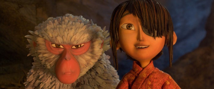 Monkey (voiced by Charlize Theron) and Kubo (voiced by Art Parkinson) in Kubo and the Two Strings.