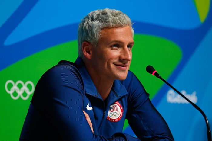 Ryan Lochte attends a press conference in Rio de Janeiro on August 12.