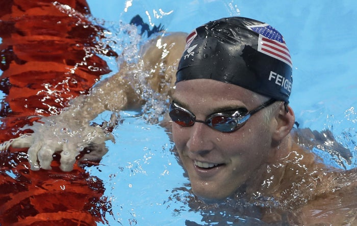 Jimmy Feigen in the Rio Olympic pool, Aug. 2.