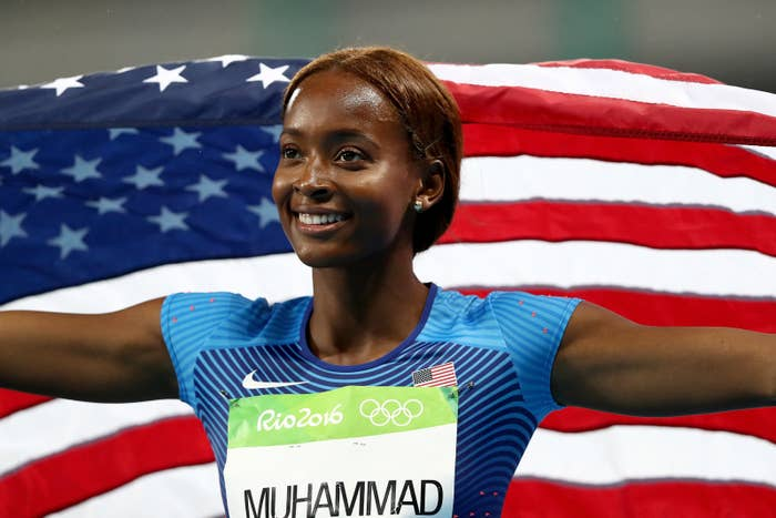 Dalilah Muhammad, 26, won gold in the women's 400m hurdles on day 13 of the Rio Olympics. She has recorded three of the five best times in the world this year. She's from Jamaica, Queens, in New York, and in an interview with news website NY1 her parents Nadirah and Askia Muhammad said their daughter's Muslim faith, discipline, and talent had taken her all the way to Rio.