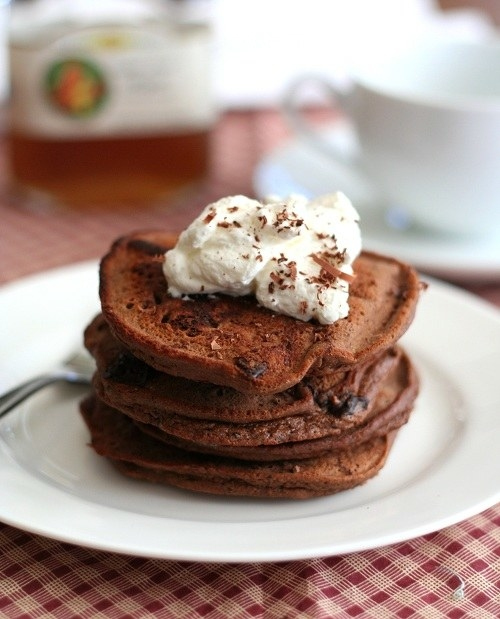 Chocolate Chocolate Chip Coconut Flour Pancakes