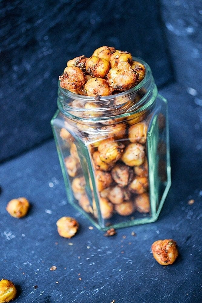 Nutty, crispy, and a bit spicy these roasted chickpeas are easy to prepare and just addictive. Recipe here.