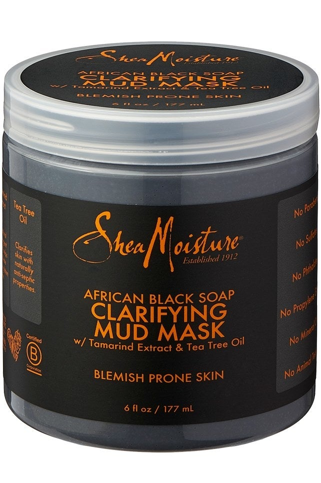 """Their Claim: """"This clarifying mask draws out dirt and congestion while helping absorb excess oil and improve the appearance of troubled skin. A proprietary blend of African Black Soap and Raw Shea Butter helps to clarify, balance and soothe blemish-prone skin. Skin feels purified and refreshed.""""Price: $14.99"""