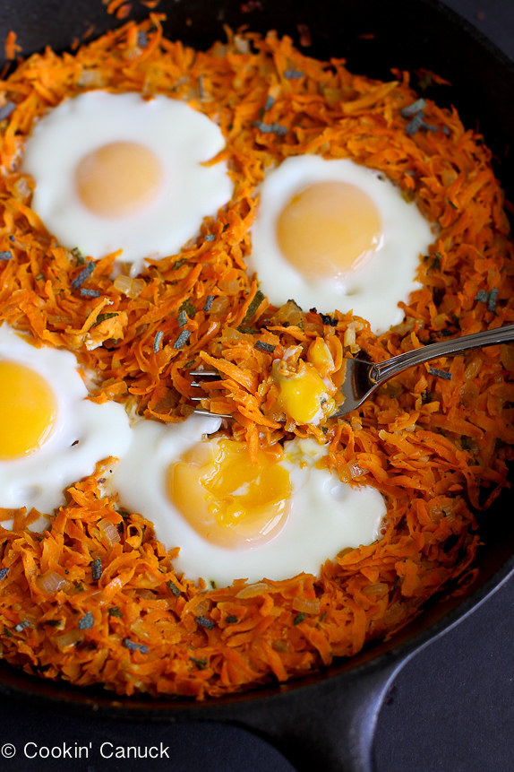 Sweet Potato Hash With Baked Eggs