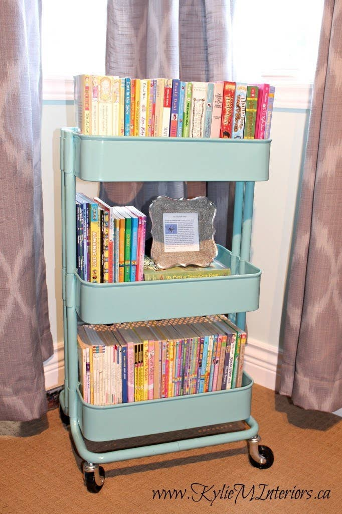 This is great if you have two kiddos in different rooms, because the bookshelf can come to them, and then live out in the common area most of the time. Read more about it here.
