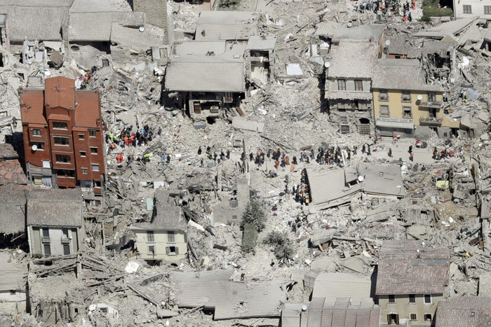 This aerial photo shows the earthquake-damaged buildings in the town of Amatrice in central Italy on Aug. 24.