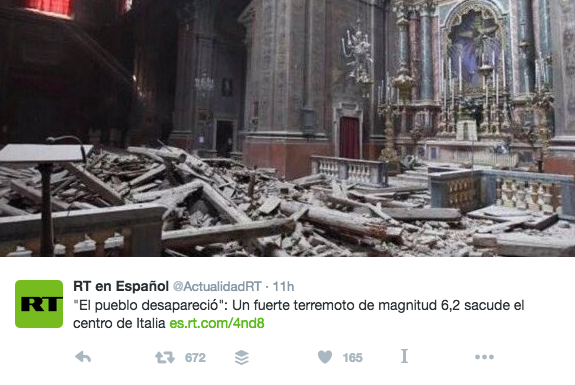That tweet came from the Spanish-language edition of RT, the Russian government-funded broadcaster and publisher.