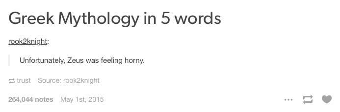 17 Times Tumblr Couldnt Believe What A Huge Fuckboy Zeus Was