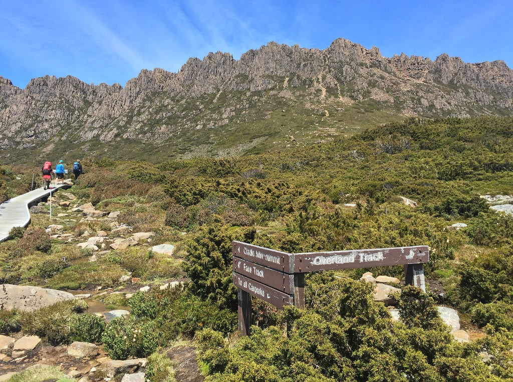 Hikers ascending to the Cradle Mountain summit