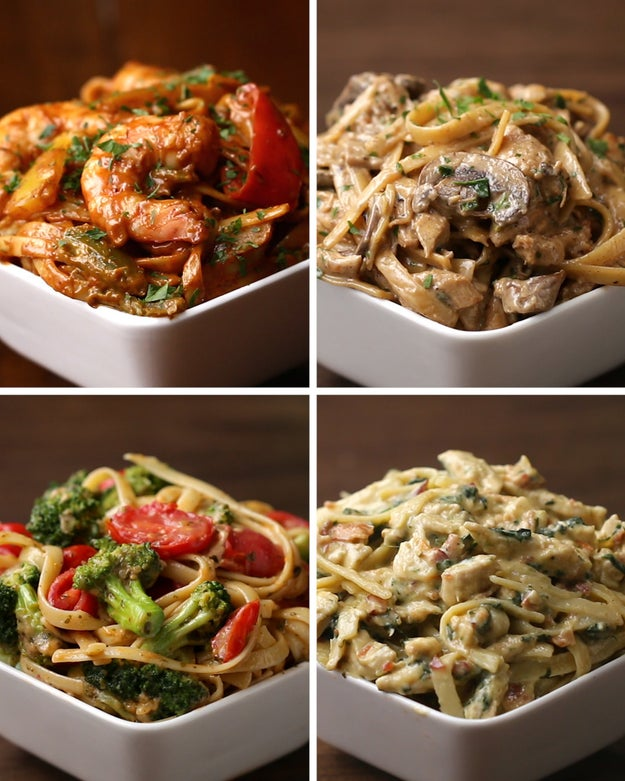 here 39 s four different dishes of delicious fettuccine for