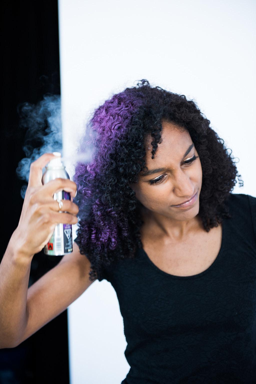 Temporary purple hair dye for black hair