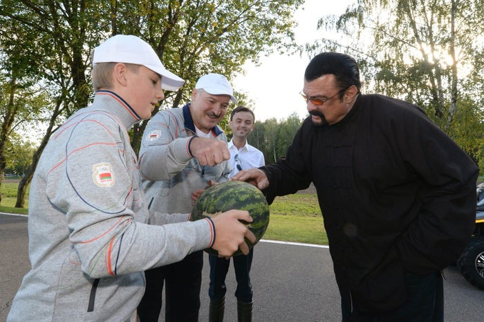 Lukashenko, who has been referred to as the last dictator in Europe, is absolutely nuts about his farm and forcing former C-list celebrities to admire the fruits (and vegetables) of his labor.