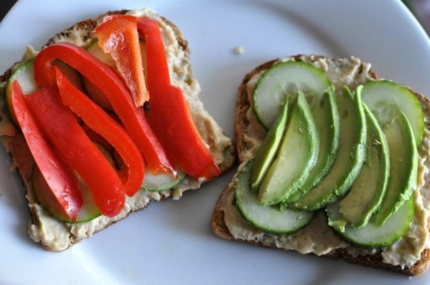 1. Monday: Open-Faced Homemade Hummus and Veggie Sandwich