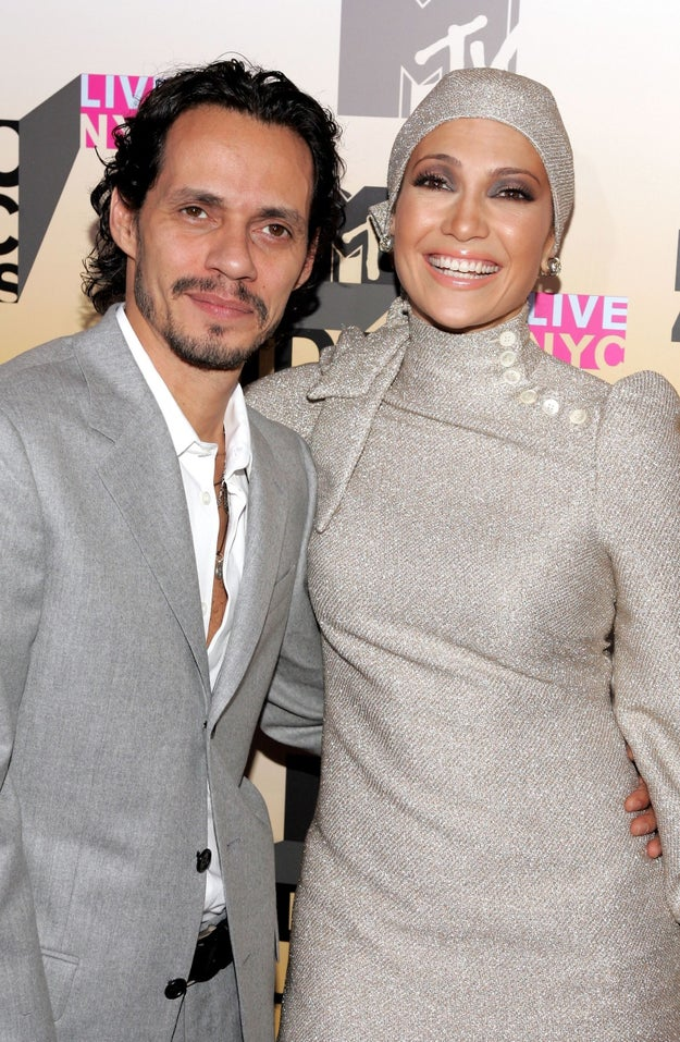 She showed up with her then-husband Marc Anthony and they were so happy together!
