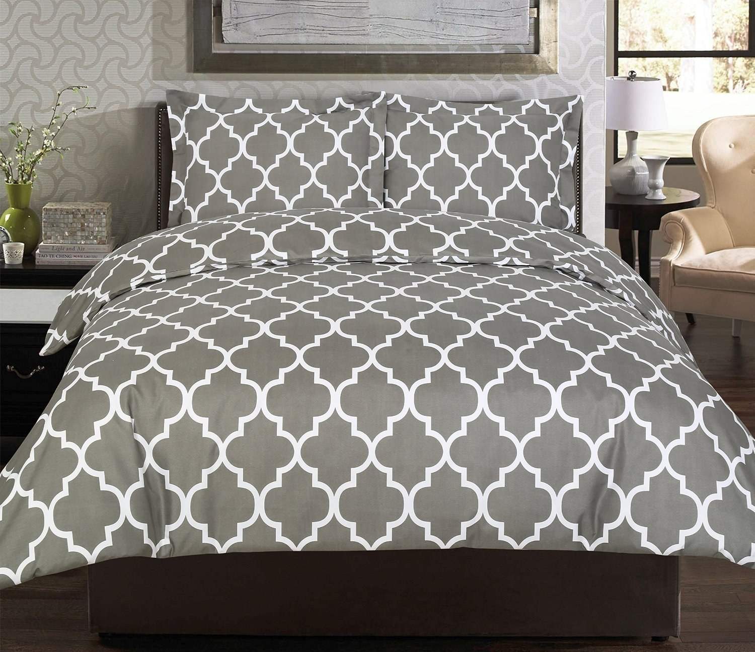 an incredibly inexpensive gray duvet cover set with a classic look