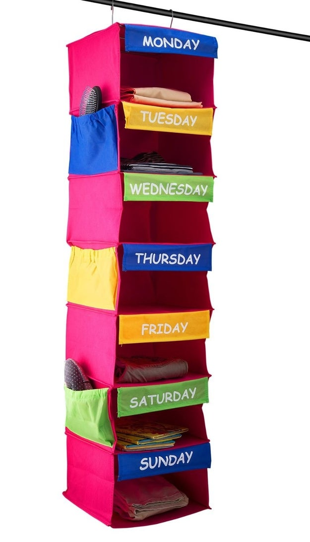 A days of the week closet organizer that'll help you plan your (and your kids') outfits in advance.