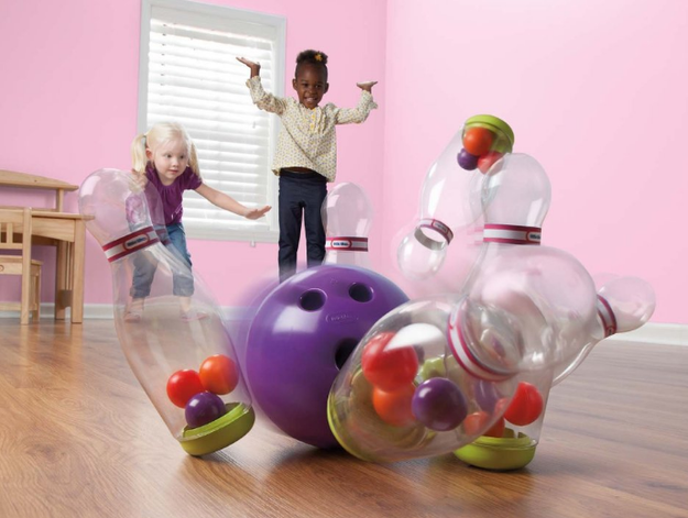 A translucent bowling set for kids that'll actually makes a satisfying clatter noise when they get a strike.