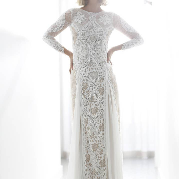 This All Over Sheer Lace Gown With An Impossibly Pretty Low Back