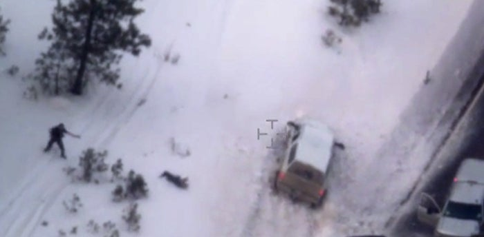An image taken from an FBI video shows Finicum, center, after he was fatally shot by police near Burns, Ore.