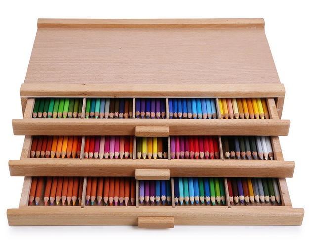 A wooden storage box for coloring-book lovers to keep their colored pencils in.