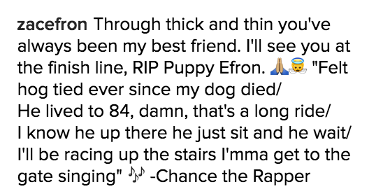 And he used Chance the Rapper lyrics in tribute. The caption read: