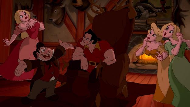 Then there's Gaston and his faithful man servant slash pal slash punching bag, Le Fou.