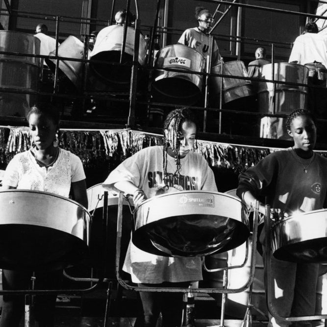A steel band playing at the Notting Hill Carnival, London, August 1994
