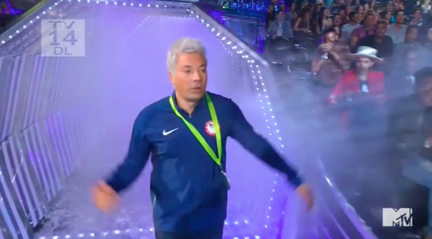 Jimmy Fallon presented the VMA for Video of the Year tonight, and he walked out DRESSED AS RYAN LOCHTE.