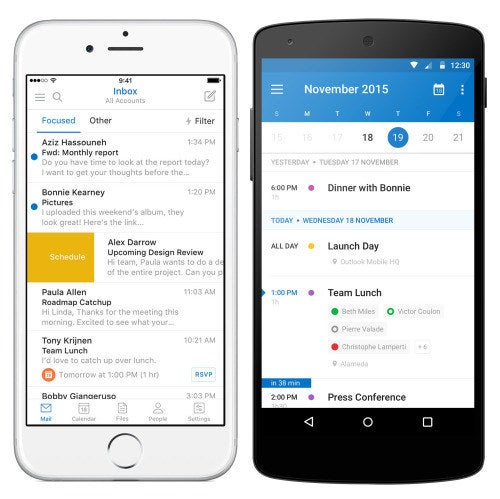 The Good 🔥 – Outlook is an email, calendar, and cloud storage app in one. You can easily manage multiple accounts, which makes it great for merging your personal and work lives. Best of all, Outlook's calendar already incorporates a lot of Sunrise features. The daily agenda and 3-day view look nearly identical. Email in the app is surprisingly good, too. Outlook sorts messages into two inboxes: Focused (for important stuff) and Other (for everything else).The Bad 👎 – Because Outlook's email and calendar views are side-by-side, you might get caught in an email vortex when all you want to do is look up where you're supposed to be right now.Also, activities on Outlook for mobile can't be synced with the Outlook web app, so you're shackled to your phone. Currently, there are no plans to revamp the web app or integrate the Sunrise experience. However, you *can* open the Outlook app and go to Settings > Help & Feedback > Suggest A Feature to give the team a lil' nudge in the right direction.