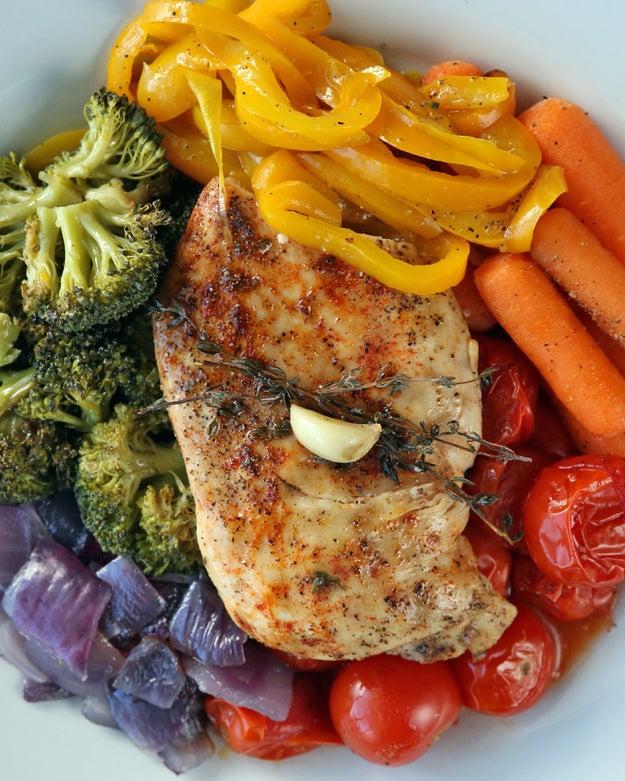 Easy Chicken and Rainbow Veggies