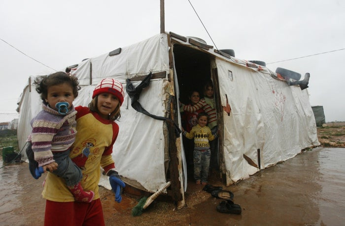 Syrian refugee children from the northwestern Syrian province of Idlib in 2015.
