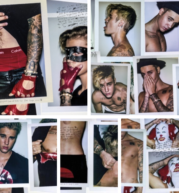 Back in July, Justin Bieber was licking knives, dressed up like a clown, and showing off his pair of red Calvins in an interview and photo shoot with Interview magazine: