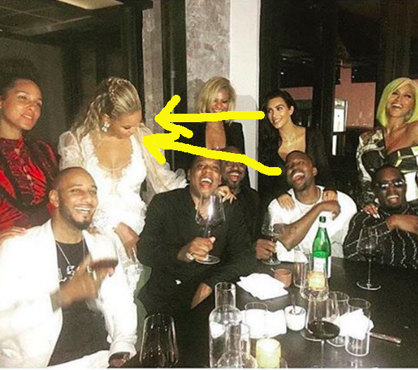 Like, LOOK at how happy Kimye are to be in the same photo as Beyoncé. Kim looked thrilled to be setting new group date goals.