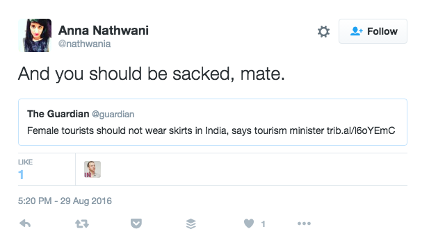 Indian women soon began tweeting their outrage about Sharma's statements.