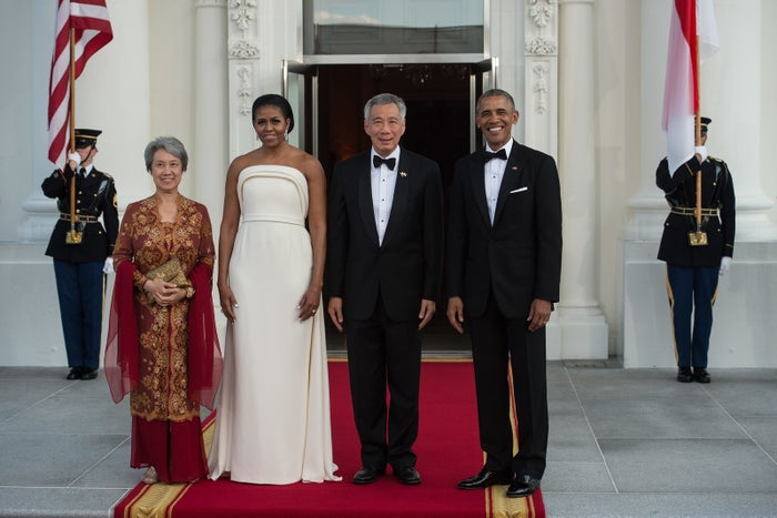 The state dinner was for Singapore Prime Minister Lee Hsien Loong.