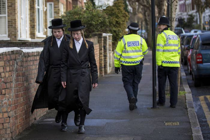 Jewish men in the Stamford Hill area of London.