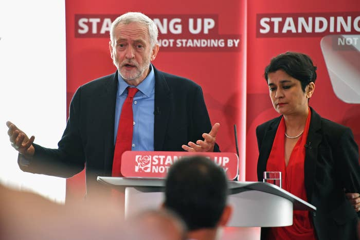 Labour leader Jeremy Corbyn and civil liberties advocate Shami Chakrabarti at the launch of the party's anti-Semitism inquiry.