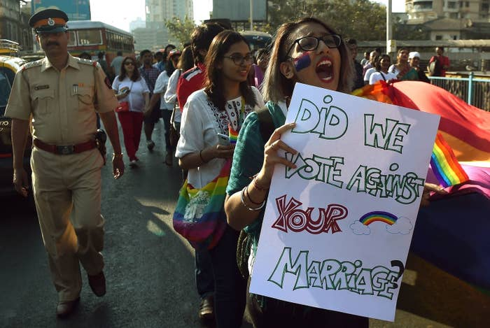 Indian supporters of the LGBT community take part in a march in Mumbai.