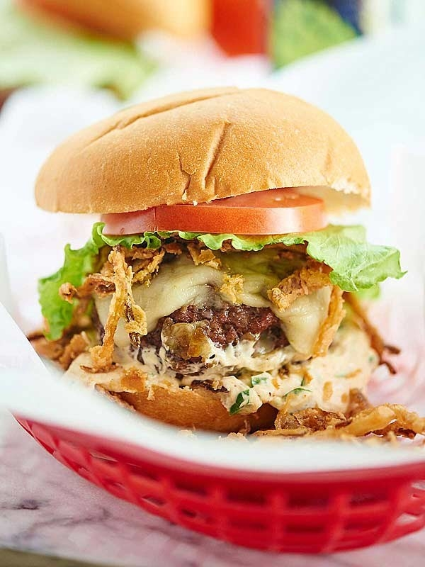 Pepper Jack Stuffed Burgers With Jalapeño Cream Sauce