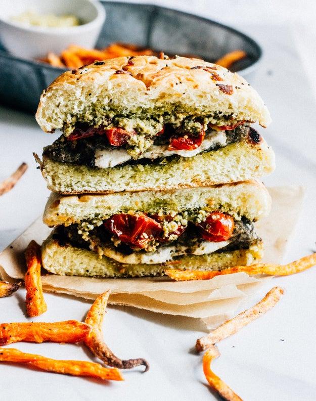 Caprese Stuffed Veggie Burgers