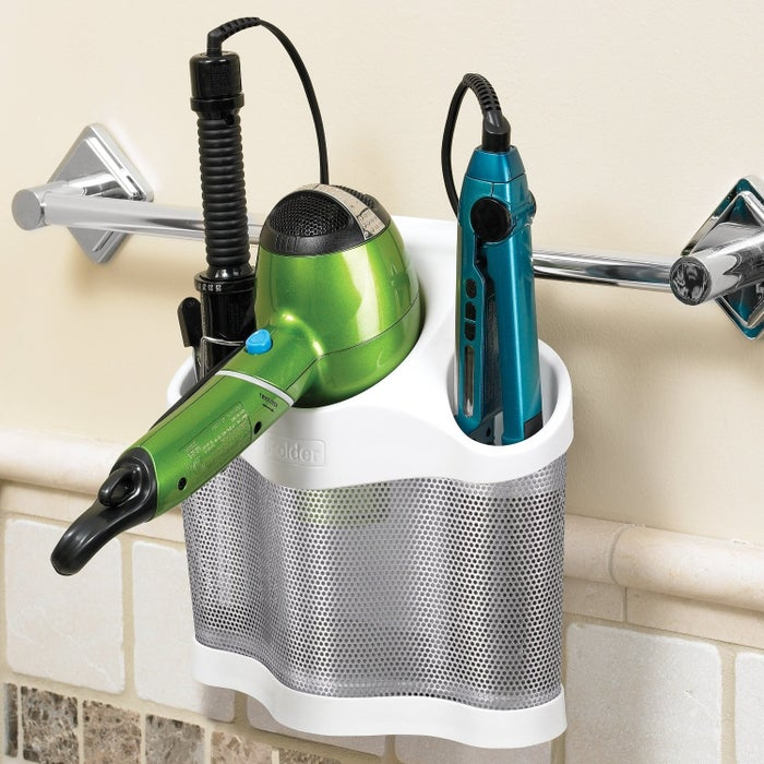 You can hang it on a towel rack or hook, but it also works on its own (freestanding on your bathroom counter). Get it from Amazon for $19.99.