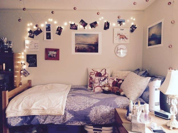 image of one side of a dorm room