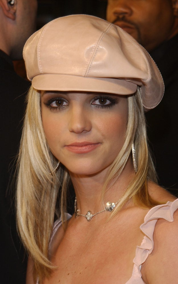 When she wore this peachy pink leather cap.