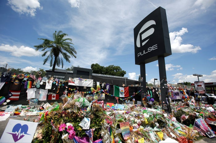 A makeshift memorial outside the Pulse nightclub, a month after the mass shooting in Orlando.