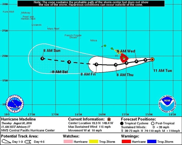 A map shows the forecast track for Hurricane Madeline in the Pacific.