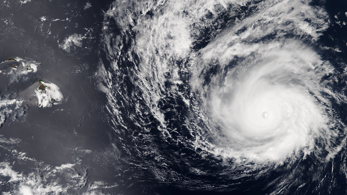 A satellite image shows Hurricane Madeline approaching Hawaii from the east on Monday evening.