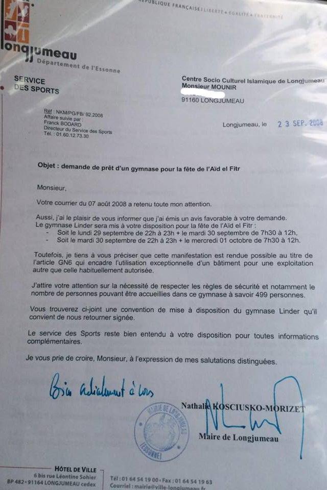 Exemple de lettre signée par NKM autorisant le prêt du gymnase
