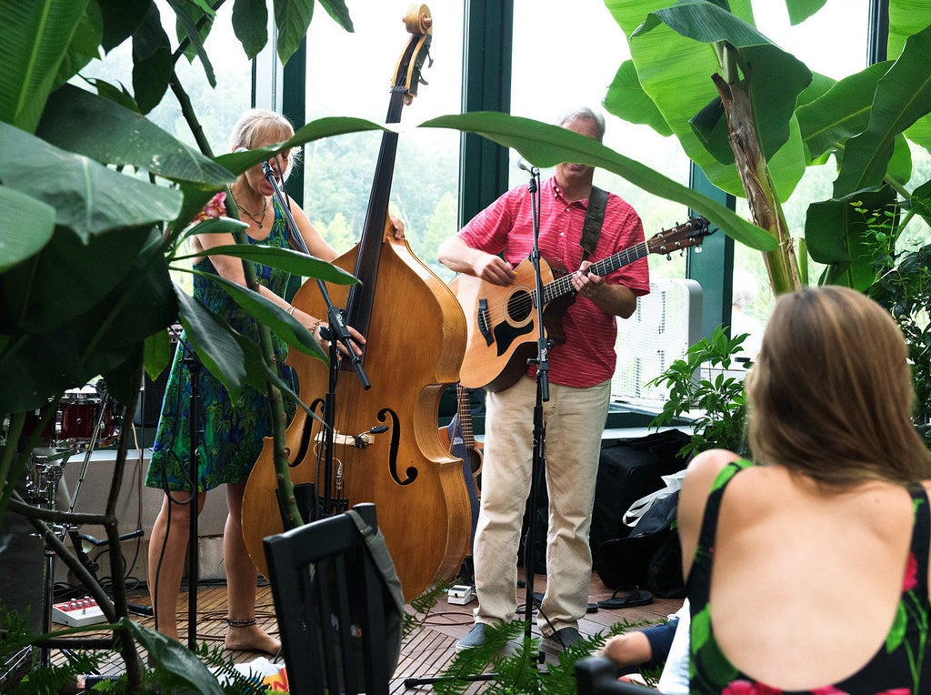 Live music is a staple at Glass House — a very welcome one that only adds to the lively vibe of the greenhouse environment.
