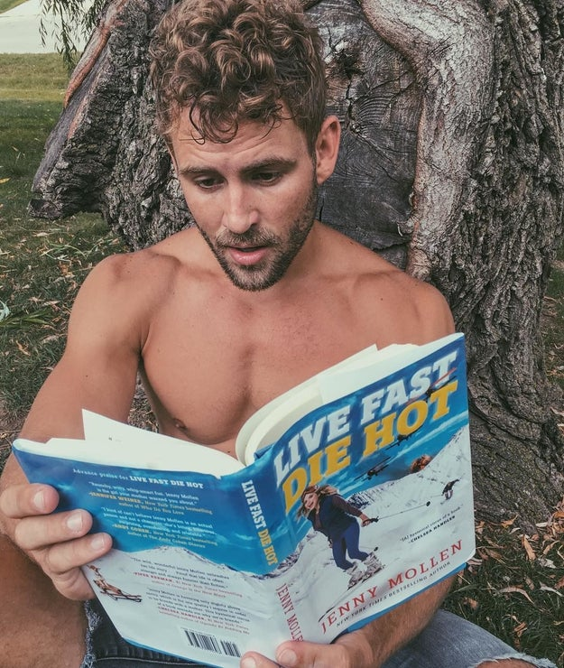 Here he is looking hella sexy while reading.